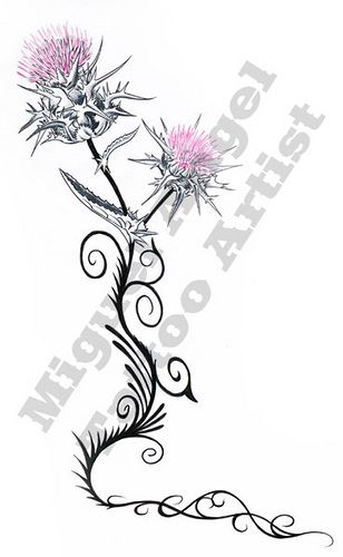 """Scottish Thistle Tattoo over my right shoulder blade with the lower bloom disintegrating into four blue birds (one for each of my children) and the words """"be free""""."""