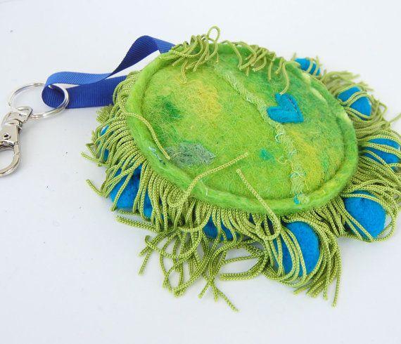 Signo de la paz llavero llavero Funky sentía en azul y verde