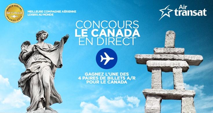 Air Transat organise un concours avec 4 paires de billets d'avion à gagner pour le Canada. Participez dès maintenant sur la page Facebook d'Air Transat!