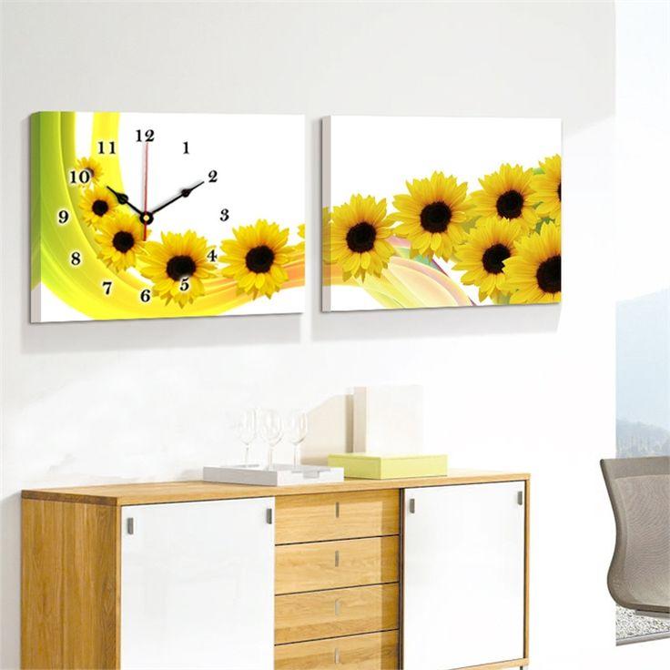 壁時計 壁絵画時計 静音時計 壁掛け時計 オシャレ 2枚パネル ひまわり