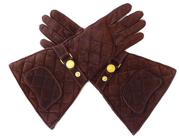 CHANEL Ultra rara Vintage guanti, camoscio trapuntato, seta, oro tono Logo Chanel Paris, Sz. 7, Idea regalo, spedizione gratuita