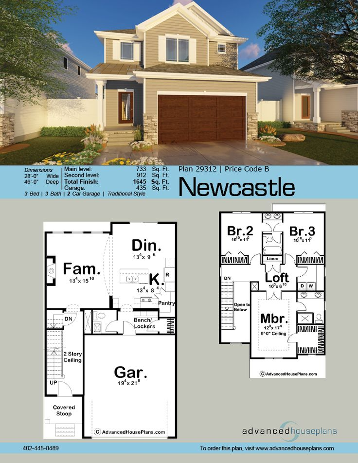 Newcastle 2 Story Traditional House Plan Narrow lot