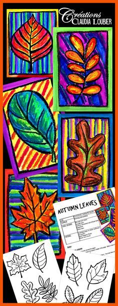 Art project about autumn leaves. For first grade and up. The students learn how to draw a leaf with warm colors. Pastel oil, tempera block paint ans black crayon. Evaluation rubric included.