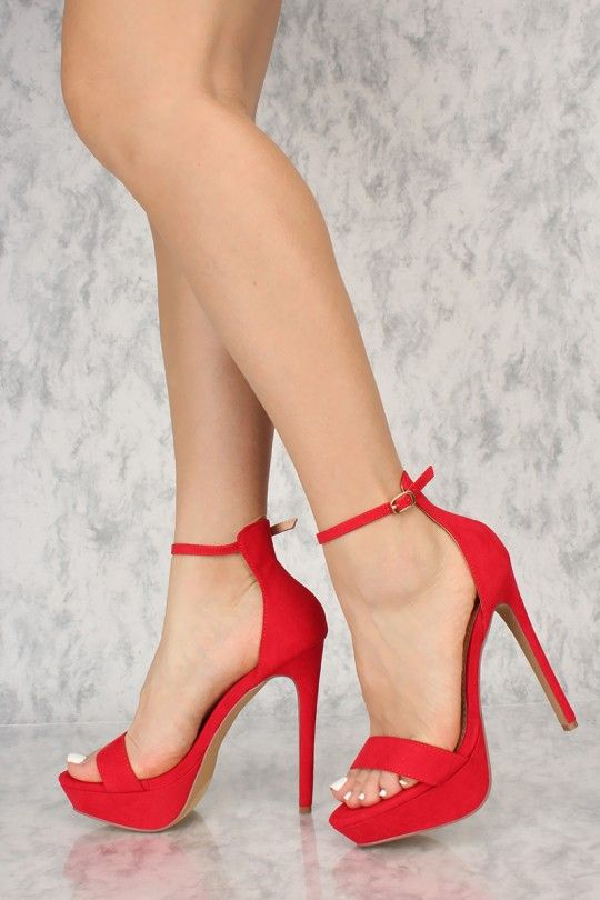 555292b76abf Sexy Red Open Toe Ankle Strap Platform Stiletto High Heels in 2018 ...
