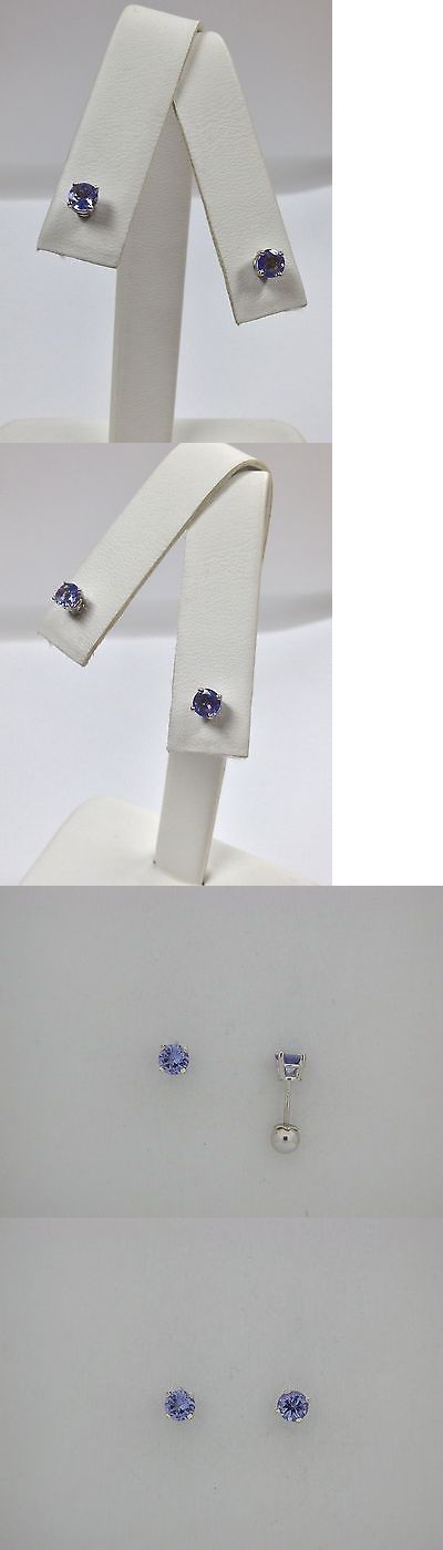 Earrings 98476: Natural Tanzanite Screwback Earrings For Baby Children Solid 14Kt White Gold -> BUY IT NOW ONLY: $95 on eBay!