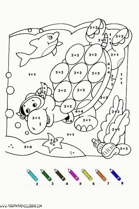 fichas para colorear con sumas y restas de personajes - Buscar con Google