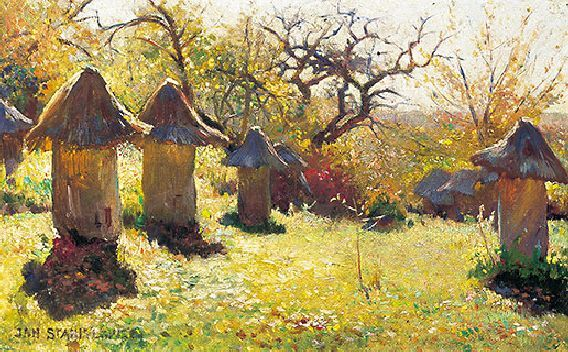 """Beehives in Ukraine"" by Jan Stanislawski (1895)"