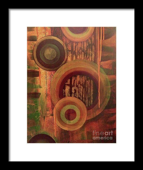 Abstract Painting Framed Print featuring the painting Way Off Track by KJ McLennan