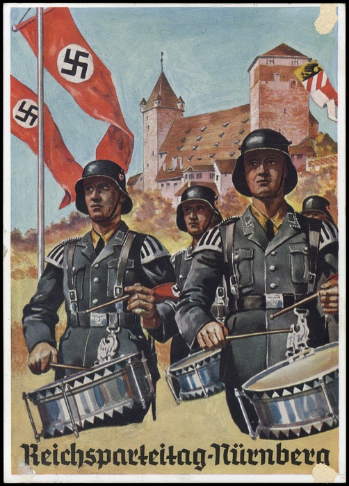 """1936, Frabkarte """"Trommler vor Burg mit Fahnen"""""""