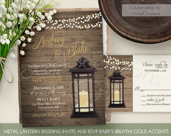 rustic wedding invitations designed with a lantern and babys breath in tones of gold - Lantern Wedding Invitations