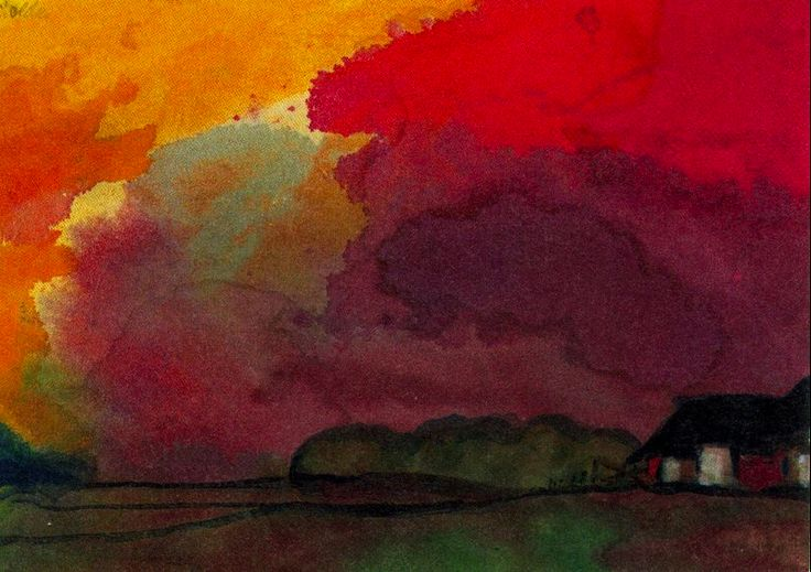 Farm, Red Evening Emile Nolde