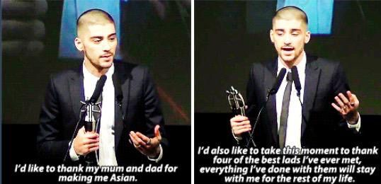 Zayn thanking his mum and dad , and the 1D Lads  #TheAsianAwards