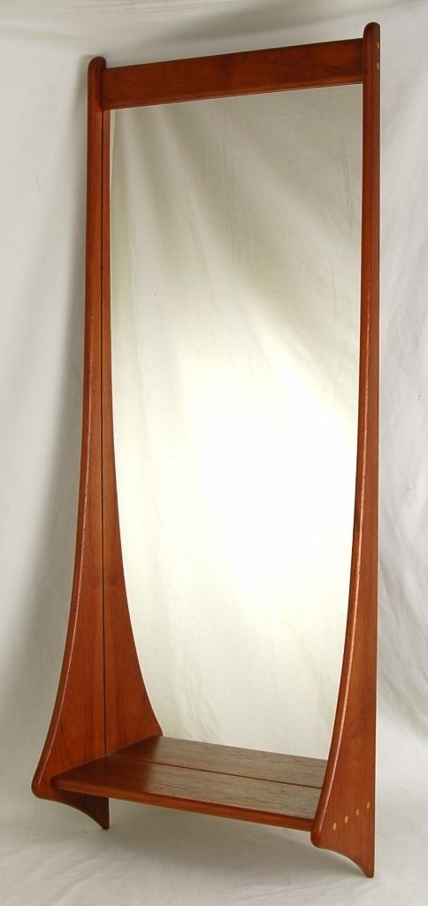 Vintage Danish Mid Century Modern Sculptural Teak Wall Mirror W Shelf