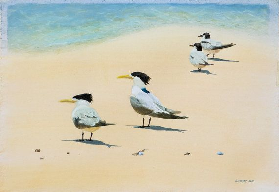 At the shore-line - Fraser Island : A3 watercolour/gouache