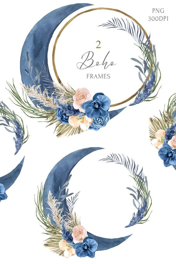 Boho Blue Moon Round Floral Frame Clipart Ideal For Weddings And Events In Boho Style Watercolor Pampas Grass And Cream Or Floral Moon Frame Clipart Blue Moon