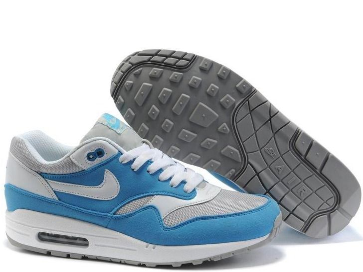 Fake Mens Nike Air Max 1 Neutral Grey Powder Blue White Shoes $42.98