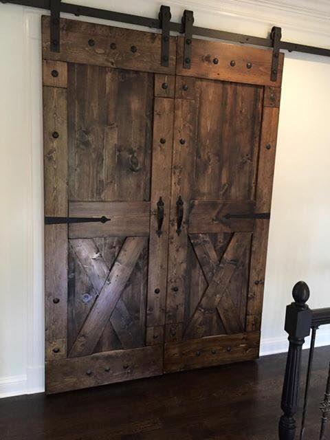 Custom made solid pine sliding barn doors screen doors for Barn door screen door