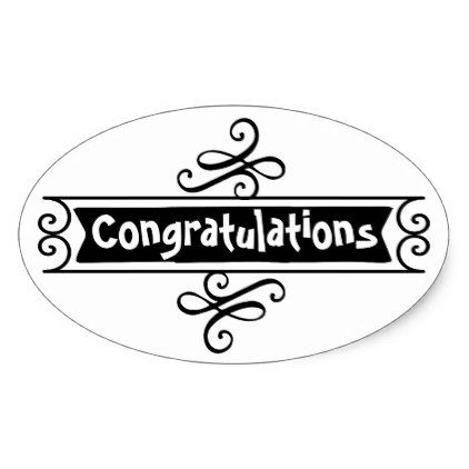 Black and white Congratulations trendy sticker - black and white gifts unique special b&w style