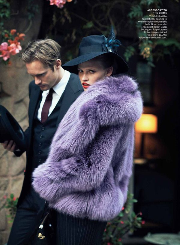 Lara Stone & Frida Gustavsson by Peter Lindbergh for Vogue US July 2011  LOVE that purple furs!