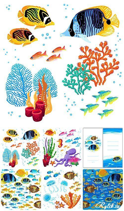 Морские обитатели в векторе - разноцветные рыбы, водоросли и кораллы