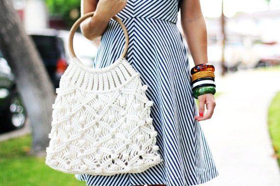 VTG 1970s 70s Hippie Boho Cream Crochet Handbag/Purse/Bag w/ Bamboo Handle