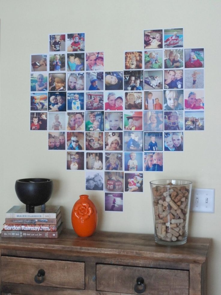 Make a heart-shaped display of Instagram photos. How cute is this?!?  need 55…