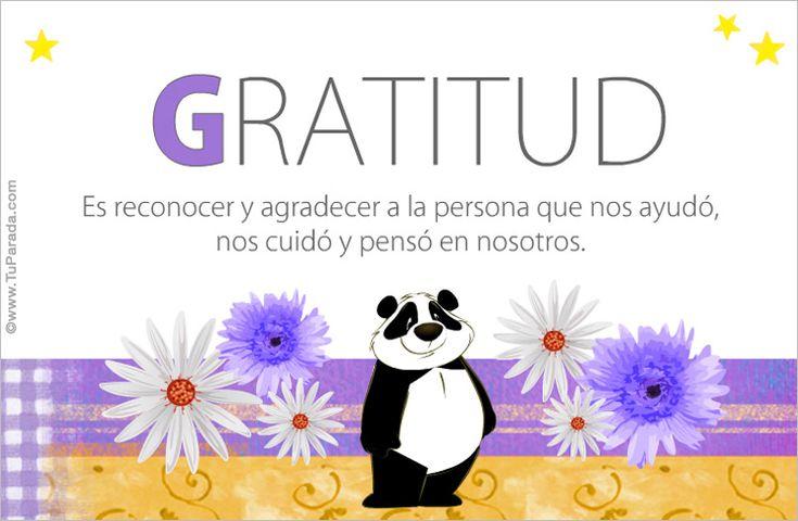 Palabras - Palabras de emociones positivas, palabras de felicidad, palabras de amor, valores humanos, frases, Tarjeta diaria de buenas ondas para ti: Gratitud - Tu Parada