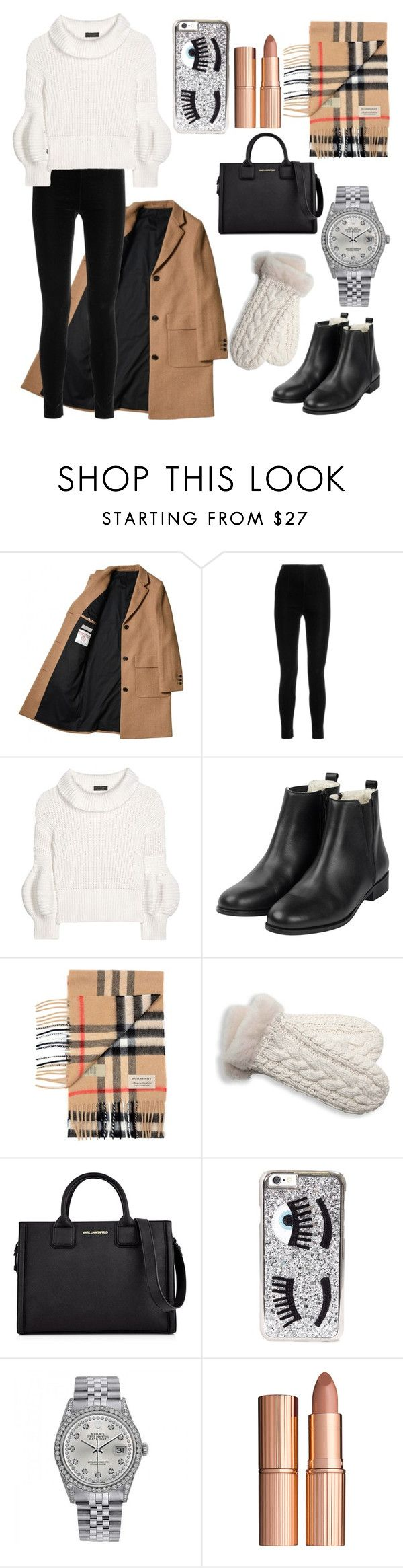 """""""Let's grab coffee!"""" by maddie-dobson ❤ liked on Polyvore featuring Balmain, Burberry, UGG Australia, Karl Lagerfeld, Chiara Ferragni, Rolex and Charlotte Tilbury"""