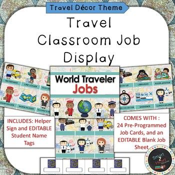 Travel Themed Classroom Job Helper Display comes with everything you need to set up your own classroom job center! You will get a Bulletin Board Title, premade job cards as well as editable blank cards to program your own jobs, and editable student name cards to pick your
