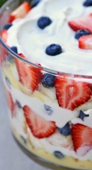 Buy a store bought angel food cake and this makes a fast, beautiful and delicious July 4th trifle!