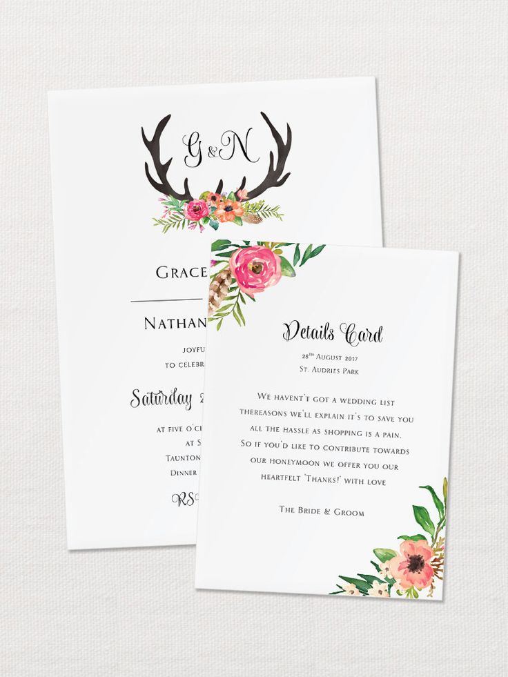 Floral Antler Wedding Invitation is the perfect way to combine stag antlers into your wedding day in a romantic and feminine way. - - - - - - - - - - - - - - - - - - - - - - - - - - THE INVITATION SUITE INCLUDES:  ○ Invitation – 5″x7″ – 127x178mm – 250g/m² ○ Invitation Envelope – 5″x7″ – 133x184mm – 120g/m² ○ RSVP / Reply Cards – 90x125mm ○ RSVP / Reply Cards Envelope – 95x130mm – 120g/m² ○ Details / Reception Card – A6 – 105x148mm ○ Belly Band – 127x55mm…