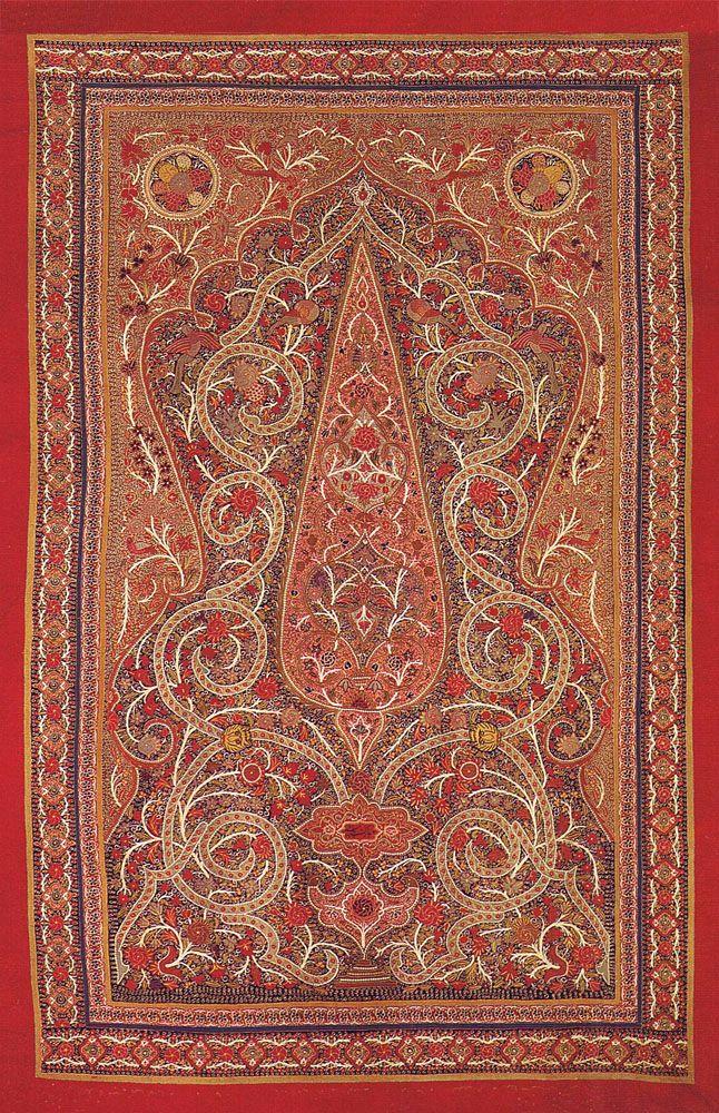 Antique Persian Textile Silk Rashti Duzi Embroidery On Felt Table Cover Qajar Dynasty 1795 1925 A D Circa 1850 Antique Textiles Tapestry Fabric Rug