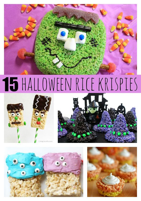 The kids are sure to go crazy over these 15 fantastic Halloween Rice Krispie Treats on www.prettymyparty.com.