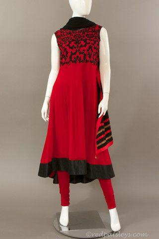 Red Black Asymmetric Anarkali