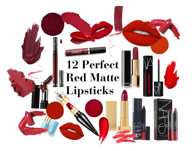 """""""12 Most Perfect Red Matte Lipsticks"""" by theclassytime on Polyvore featuring beauté, Kat Von D, Chanel, Lipstick Queen, NARS Cosmetics, Christian Louboutin, Balmain, Lime Crime, Maybelline et LAQA & Co."""