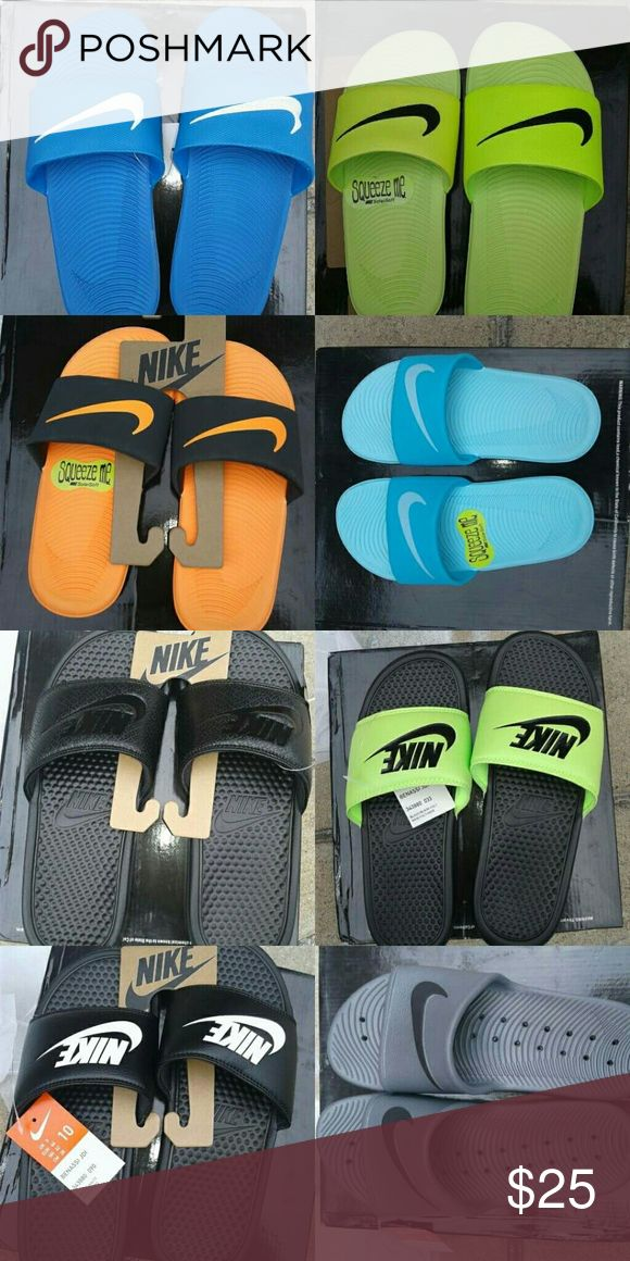 Nike slides for men women and kids Each pair is new. No half sizes. First picture is kids/women (select) styles. Followed by second photo which is mens sizes are mainly 10 have a few 8s . Selling out fast only a few sizes available PLACE YOUR ORDER NOW !!!!! Nike Shoes Sandals