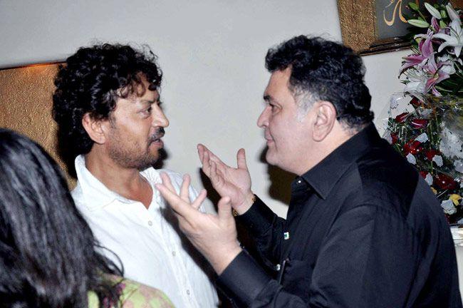 Rishi Kapoor and Irrfan Khan having a deep conversation at Javed Jaffrey's Eid bash. #Bollywood #Fashion #Style