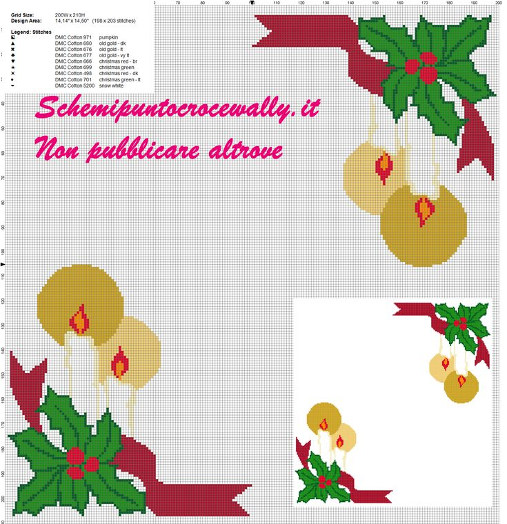 schema punto croce tovaglietta natalizia con candela