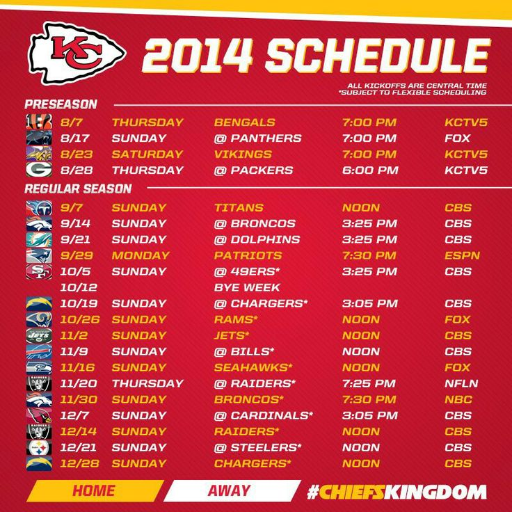2014 KC CHIEFS SCHEDULE