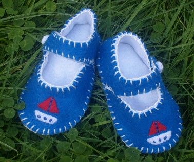 Boat  Baby Shoes / Boys Felt Booties / New by WithHugsandKisses