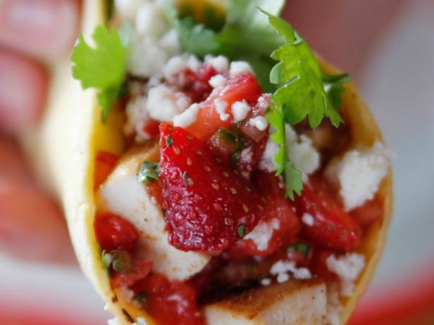 Get Grilled Chicken Tacos with Strawberry Salsa Recipe from Food Network