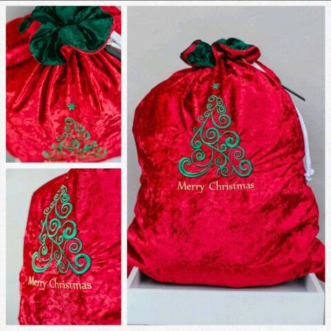Traditional red Christmas sack. So adorable comes with a small chalk board and chalk.