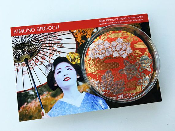 Golden fabric brooch made of japanese kimono Japanese fabric