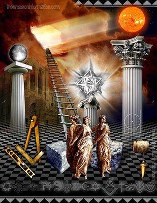 Maçonaria: ➸Escada de Jacob: simboliza o contacto entre o céu e a terra; os 3 principais degraus: Fé, Esperança, Caridade; ➸Pontos Cardeais: os pontos cardeais da bússola surgem na moldura; ➸Colunas: são 3 e simbolizam a Regra de Três: sabedoria, beleza e força, reveladas na construção do Templo de Salomão; ➸Pedra Bruta simboliza o homem não formado; a pedra trabalhada (no lado oposto) é a própria perfeição; ➸Pavimento Axadrezado: quadrados brancos e pretos simbolizam a luta entre o bem e o…