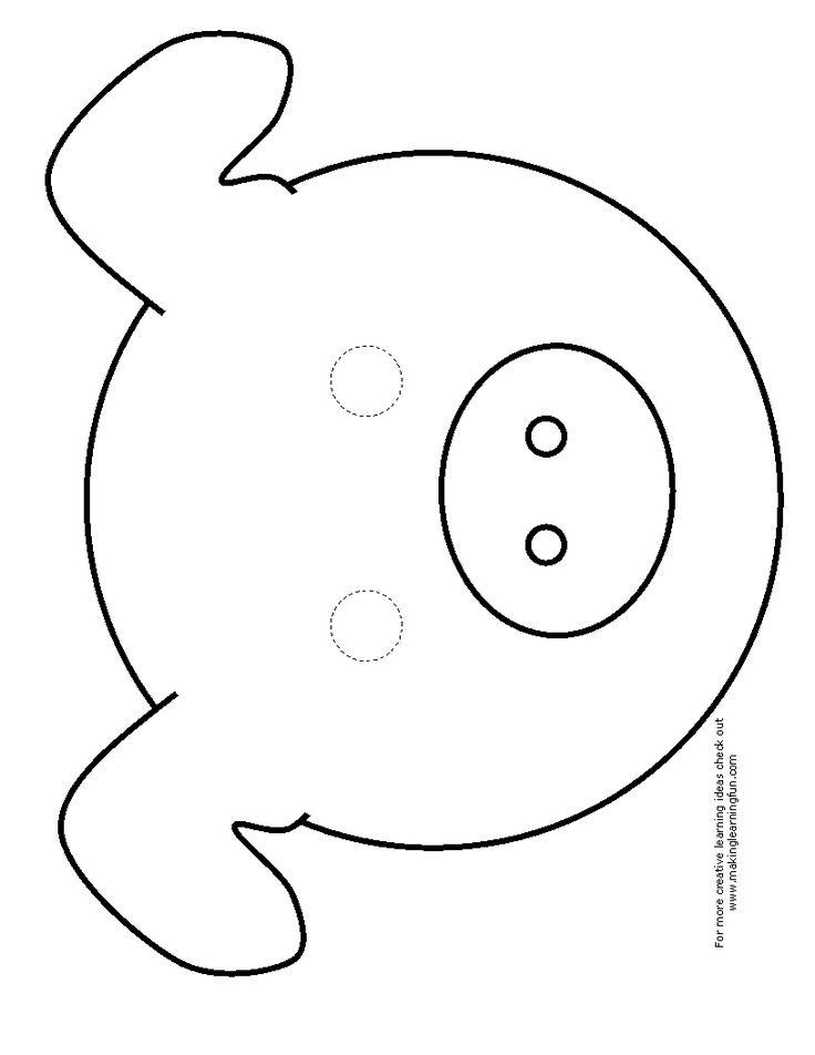 Dashing image with printable pig masks