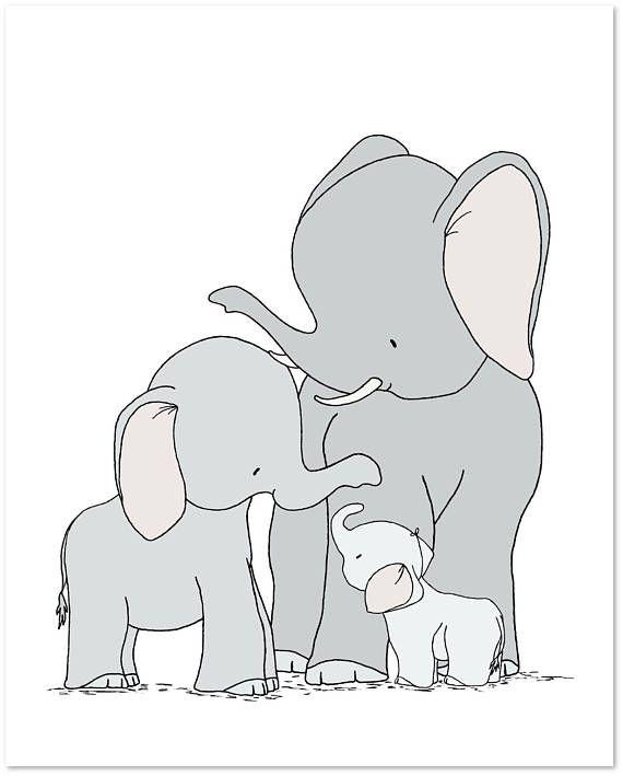 Elephant Family Nursery Art Print, One Big Happy Family, Baby Room Decor – Lore Encina