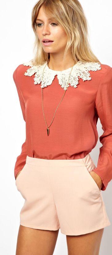Coral & peach - feminine embroidered blouse, cute shorts