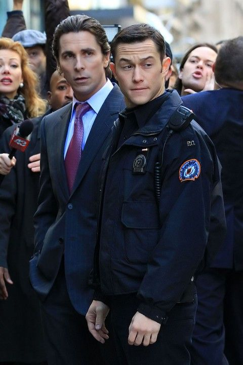 Christian Bale in a suit and JGL in a police uniform--is this heaven?