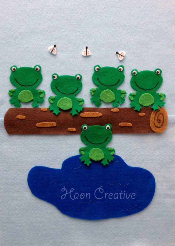 Five Green & Speckled Frogs Felt Story / Flannel by HaonCreative