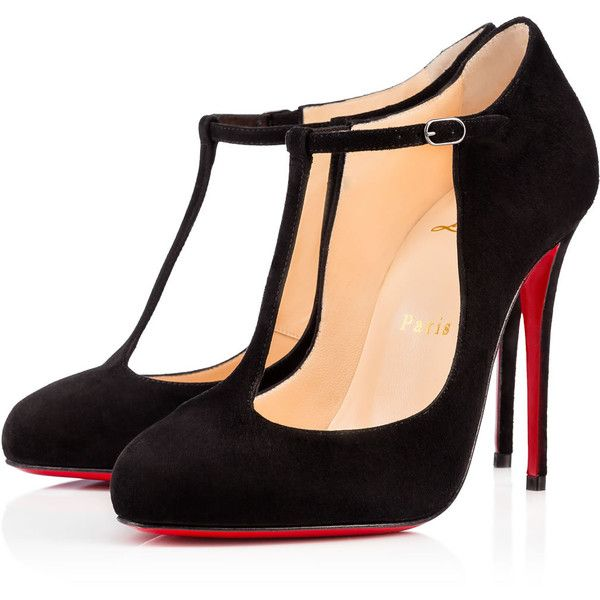 Christian Louboutin Tpoppins found on Polyvore featuring shoes, pumps, heels, black, footwear, louboutin, black suede shoes, heels stilettos, black high heel pumps and black pumps